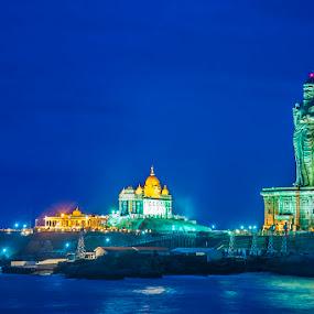 Kanyakumari - Vivekanandar Rock & Thiruvalluvar Statute by Muthu Kumar - Travel Locations Landmarks ( statute, muthukumar, blue, vivekanandar, sea, thiruvalluvar, night, rock, kanyakumari, yesmkphotography )