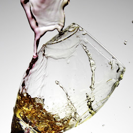 water and wine glass by Peter Salmon - Artistic Objects Glass ( colour, water, splash, pour, glass )