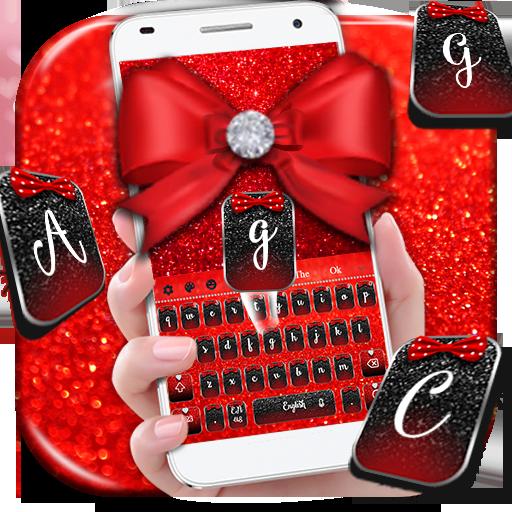 Red Glitter Bowknot Keyboard (app)