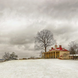 Mt vernon in snow by Jack Nevitt - Landscapes Travel ( george washington, home, mt vernon, virgini a, snow )