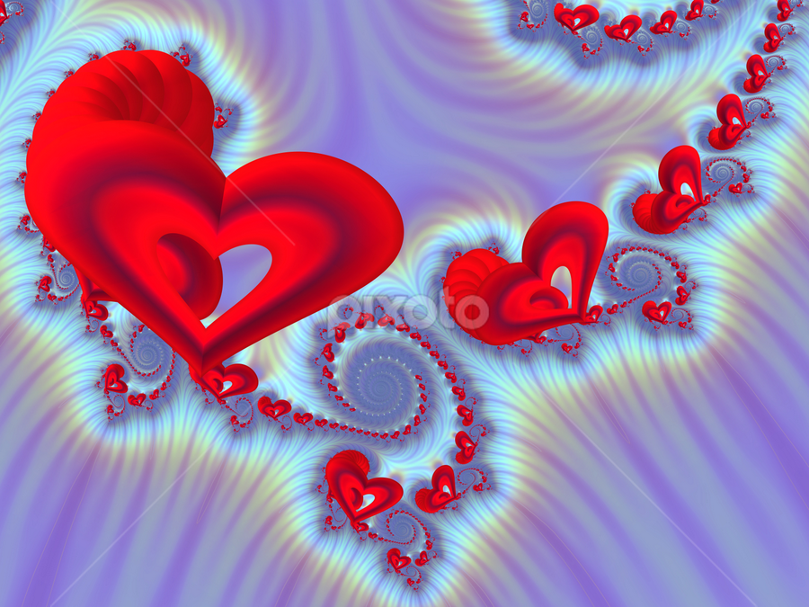 Hearts 3 by Cassy 67 - Illustration Abstract & Patterns ( abstract, hearts, heart, valentines, swirl, wallpaper, digital art, spiral, fractal, digital, fractals, valentine´s day )