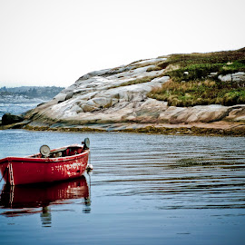 Peggy's Cove by Keith Johnston - Landscapes Waterscapes ( water, row boat, cove, shoreline, sea, scenic, seascape, still water, rowboat, rocks )