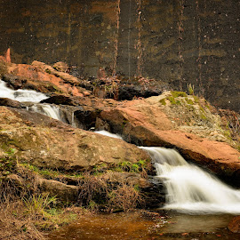 Rock Falls by Michelle Newport - Landscapes Waterscapes ( murray's mill, water, nature, waterfall, landscape, rocks, north carolina )