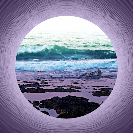 Into the Sea by Florentina  Arvanitaki - Digital Art Places ( waves, beautiful, rocks, beauty, nature, island, purple, abstract, drems, circle, sea )