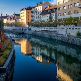 Morning in the city by Aleksandra Jereb - Buildings & Architecture Bridges & Suspended Structures ( lubljana, bridge, ljubljanica, river, tromostovje, city )