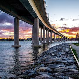 Under the Bridge by Robert Peterson - Landscapes Sunsets & Sunrises ( annapolis, sunset, maryland, bridge, jonas green park )