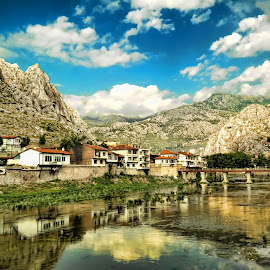 Reflections by Murat Can - Buildings & Architecture Public & Historical ( mountains, reflection, green, amsaya, reflections, historical, turkey, public, green river, turkiye, river )