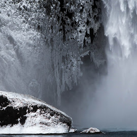 Ice formations near waterfall by Birgir Sigurðsson - Nature Up Close Water ( water, winter, ice, waterfall, snow, rock )