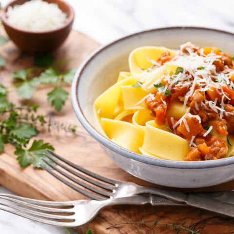 Pumkin Bolognese with Pappardelle Pasta