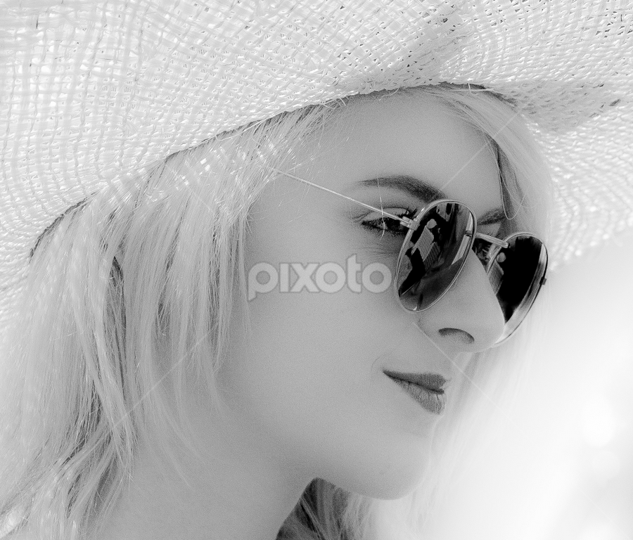 Shades by John Walton - Black & White Portraits & People ( blonde, girl, pensive, heritagefocus, sunglasses, straw hat )