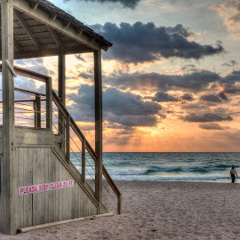 Treasure Hunter by Steve Morrison - Landscapes Beaches ( deerfield beach, treasure hunter, ocean, sunrise, lifeguard tower )