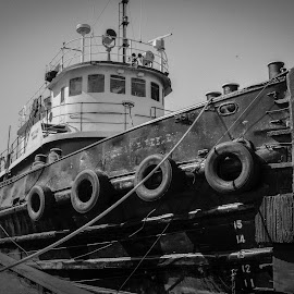 The Mary Page by Robert Coffey - Black & White Objects & Still Life ( michigan, harbor, lake, boat, dock, tug )