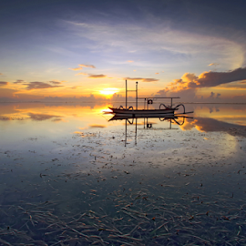 A Morning at The Karang Beach by Gede Widiarsa - Transportation Boats ( bali, karangbeach, jukung, sanur, sunrise, boat )