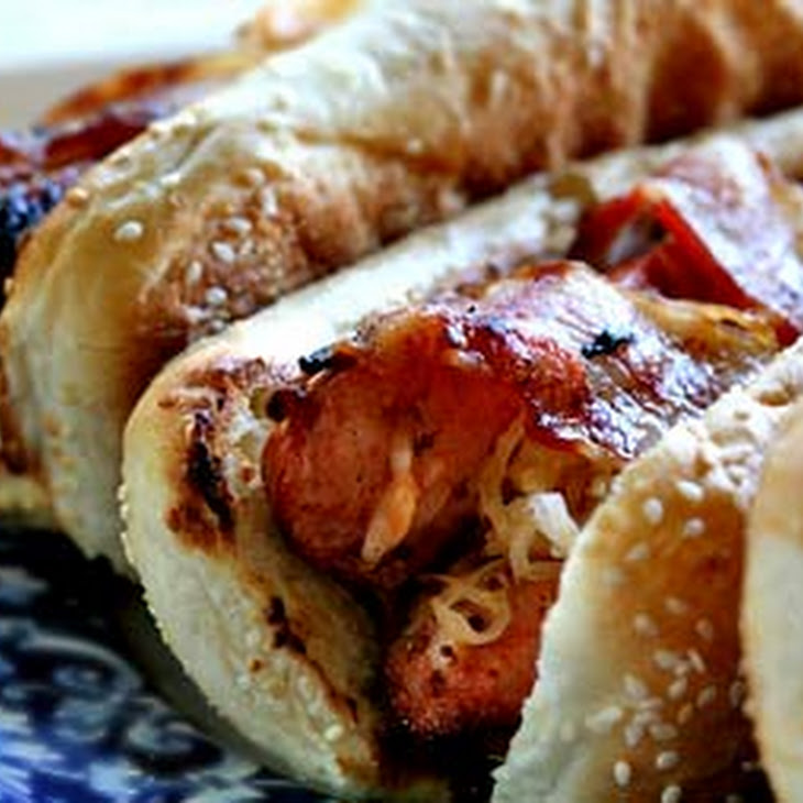 Grilled Bacon-Wrapped Stuffed Hot Dogs Recipe | Yummly