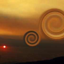 Swirls In The Sky by Devon Andriola - Digital Art Places ( idaho, sky, mountain, sunset, digital art, photography )