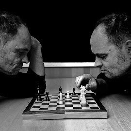Chess players by Tibor Pirnat - Black & White Portraits & People ( selfportrait, chess, sport, black &white, portrait )