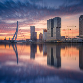 Colourful sunrise over the city by Rémon Lourier - City,  Street & Park  Skylines ( rotterdam, holland )