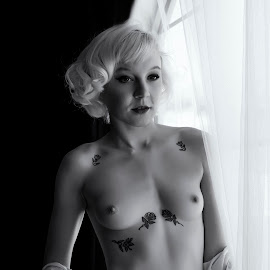 Openness by Kens Yeaglin - Nudes & Boudoir Artistic Nude ( natural light, nude, black and white, boudoir, blond, jeanemonroe )