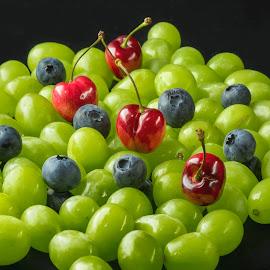 GRAPES, BLUEBERRIES & CHERRIES by Jim Downey - Food & Drink Fruits & Vegetables ( red, grapes, cherries, blueberries, black )