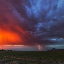 Picot Peak Sunset Lightning by Bryan Snider - Landscapes Weather ( lightning, arizona monsoon, monsoon, sunset, arizona, weather, lightning at sunset, storm chasing )