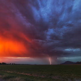 Picot Peak Sunset Lightning by Bryan Snider - Landscapes Weather ( lightning, arizona monsoon, monsoon, sunset, arizona, weather, lightning at sunset, storm chasing )