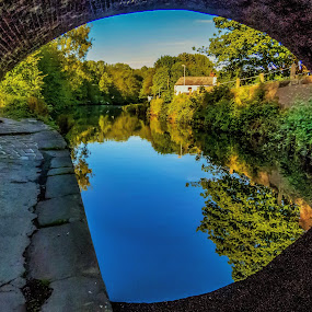 Summer Reflections in the Canal by Andy Young - Landscapes Waterscapes ( cheshire, uk, runcorn, reflections, trees, bridgewater canal )
