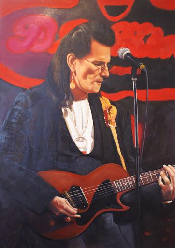 Willy Deville (Mink Deville) - Olieverf op Canvas - 60 x 90 cm