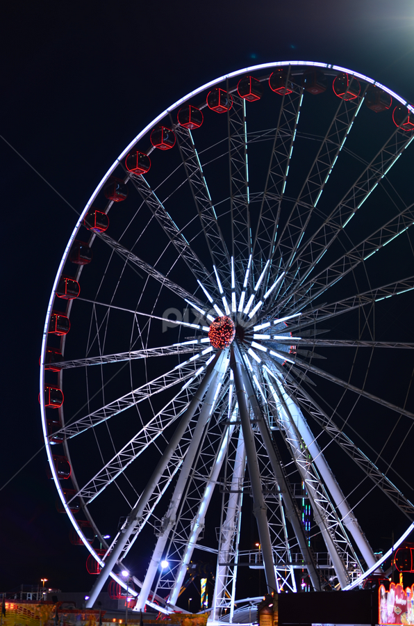 Ferris wheel by Mauritz Janeke - Travel Locations Landmarks ( ferris, wheel, dubai, global village, night time,  )