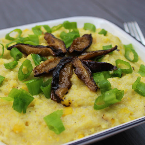 Roasted Corn Grits with Shiitake Bacon