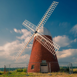 Old Windmill by Bela Paszti - Buildings & Architecture Public & Historical ( nikon, eu, sussex, old, uk, windmill, historical, hike, walk, halnaker )