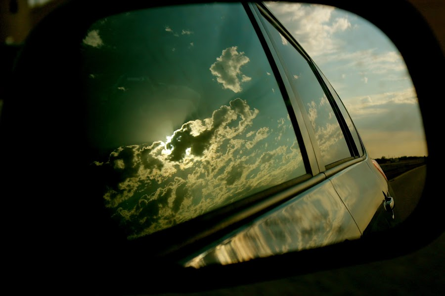 Side-view Scape   by Emily Jones - Transportation Automobiles ( clouds, car, mirror, drive, sun )