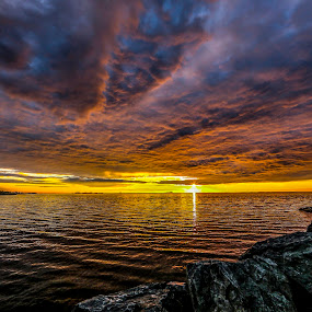 Sunset Uthaug by Lillian Utstrand Gulliksen - Landscapes Cloud Formations ( coloredsky, uthaug, sunset, uthaugharbour, ocean, norway )