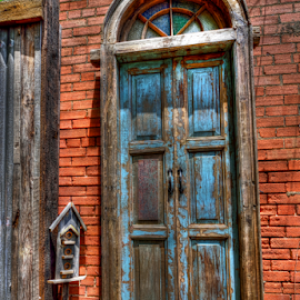 The Doors by Kent Moody - Artistic Objects Antiques ( red, door, birdhouse, blue, antique, building )