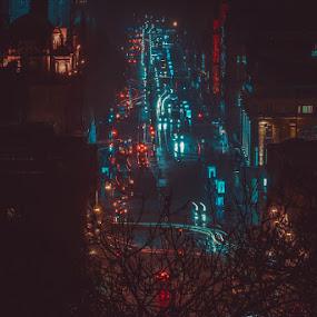 City light by Rafał Wójcicki - City,  Street & Park  Night ( scotland, rafalwojcicki, edinburgh, night, nightscape )