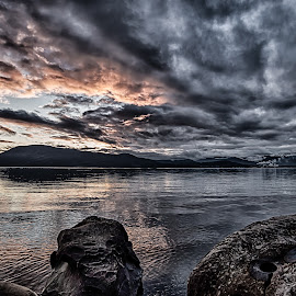 Evening light on Salt Spring Island by GThomas Muir - Landscapes Waterscapes ( clouds, sunset, evening light, rocks, salt spring island )