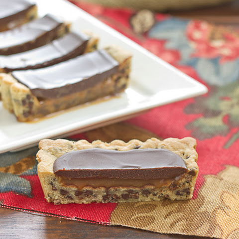 Chocolate Chip Tart with Caramel and Chocolate Glaze