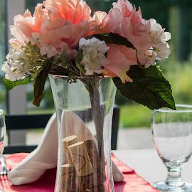 Table decoration by Janice Poole - Wedding Details ( vase, cork, wedding, decorations, flowers )