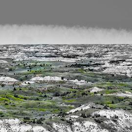 North Dakota Badlands by Sheen Deis - Landscapes Prairies, Meadows & Fields ( hills, landscape, prairie, badlands,  )