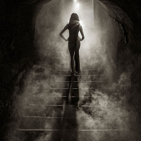 Return from the hell by Simon Kovacic - Black & White Portraits & People ( model, stairs, return, hell, foog )