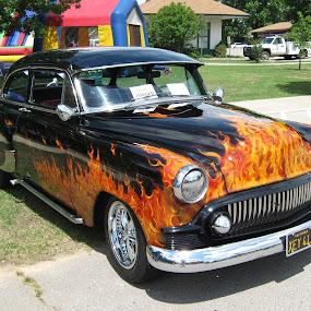 Flames by Rick Covert - Transportation Automobiles ( cars, vintage, arkansas, fire, antique )
