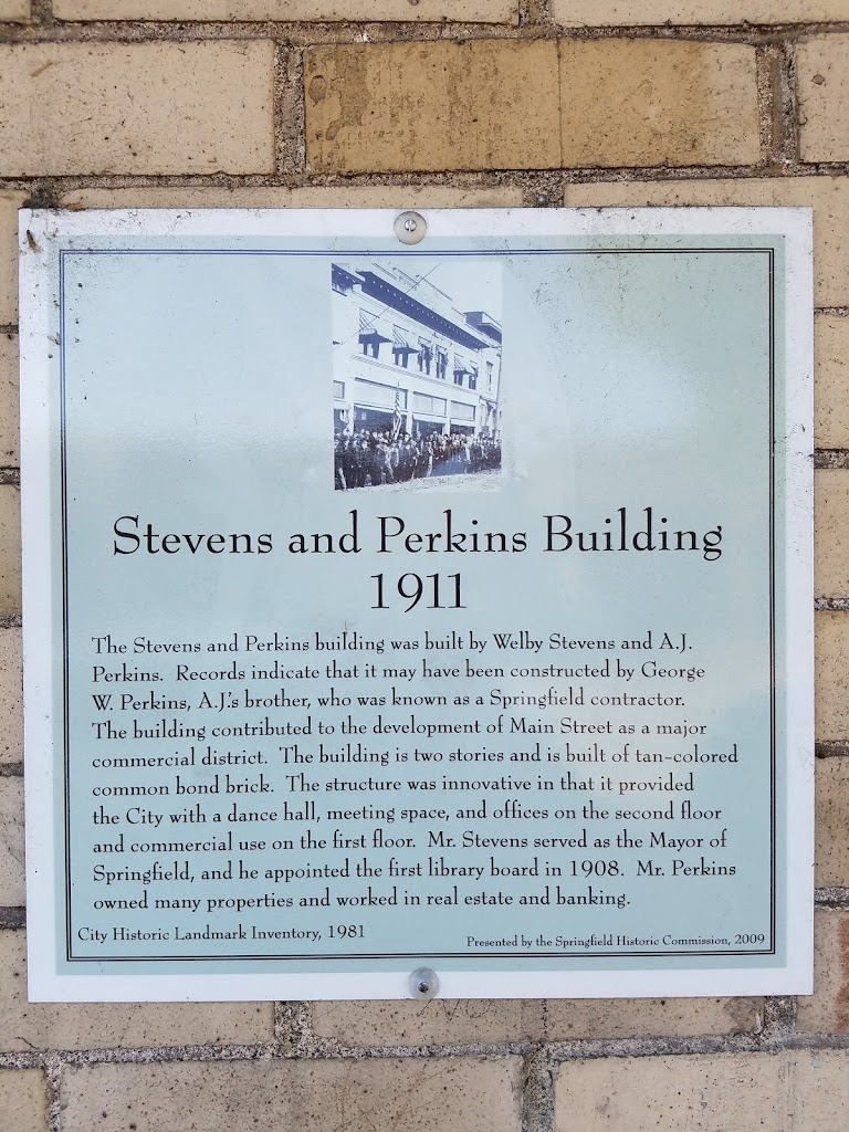 Stevens and Perkins Building 1911 The Stevens and Perkins building was built by Welby Stevens and A.J. Perkins. Records indicate that it may have been constructed by George W. Perkins, A.J.'s ...