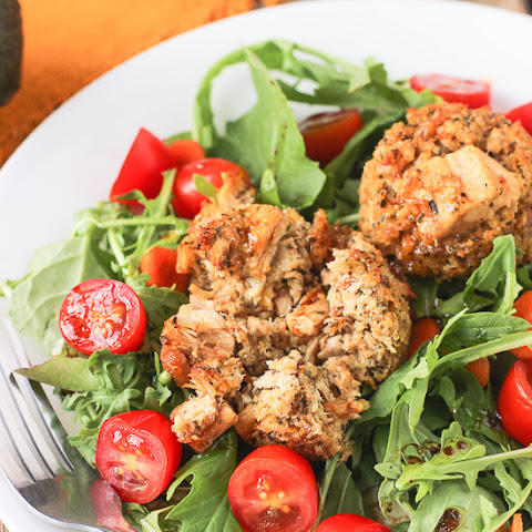 Spicy Tuna Cake Salad with Orange Balsamic Vinaigrette