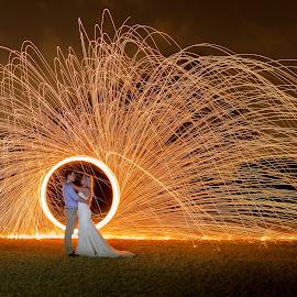 Sparks by Lodewyk W Goosen (LWG Photo) - Wedding Bride & Groom ( wedding photography, wedding photographers, wedding day, weddings, wedding, wedding photographer, bride and groom, bride, groom, fire, bride groom )