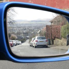 In my past by Marion Hall - City,  Street & Park  Street Scenes ( mirror, hills, edinburgh, car view, pentland hills )