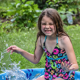 Water Fun by Tiffany Serijna - Babies & Children Children Candids ( water, splash, innocent, tiffanyserijna, raelyn, candid, fun, long, brown hair, cute, rae, sun, outside, portrait )