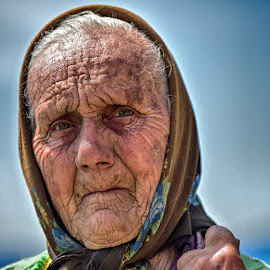 Life is Designed In Her Face by Marco Bertamé - People Portraits of Women ( wrinkles, woman, romania, elderly, transylvania, portrait, foulard )