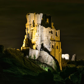 Corfe at night by Richard Simpson - Buildings & Architecture Public & Historical ( night photography, corfe castle, corfe, night time, night, national trust, night shot, nightscapes, castle at night )