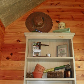 collectibles by Sandy Stevens Krassinger - Artistic Objects Other Objects ( planting pots, cabinet, gardening book, shelf, pine tar, artistic objects, hat )