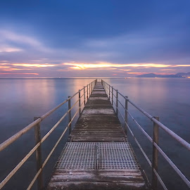 Dock the Sunset  by Mike Drosos - Landscapes Waterscapes ( shore, canon, europe, colorful, waterscape, kalymnos, fine art, ocean, beach, beauty, jetty, landscape, coast, aegean, dock, photography, island, kos, mastichari, sky, mediterranean, photographer, pier, long exposure, light, september, water, clouds, greek, colors, beautiful, greece, dodecanese, hour, coastal, dusk, mike drosos, blue, color, sunset, islands, cloud )