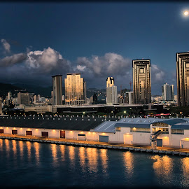 An Evening in Oahu by Linda Tiepelman - Landscapes Travel ( kaka'ako neighborhood, building, pride of america, honolulu, two twin towers, ocean, architecture, landscape, cruise, oahu, nightscape, downtown honolulu, vacation, one waterfront towers, port of honolulu, norwegian cruise line, condominium complex, hawaii )